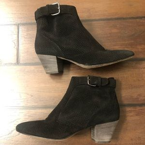 Aquatalia Black Suede France Ankle Booties